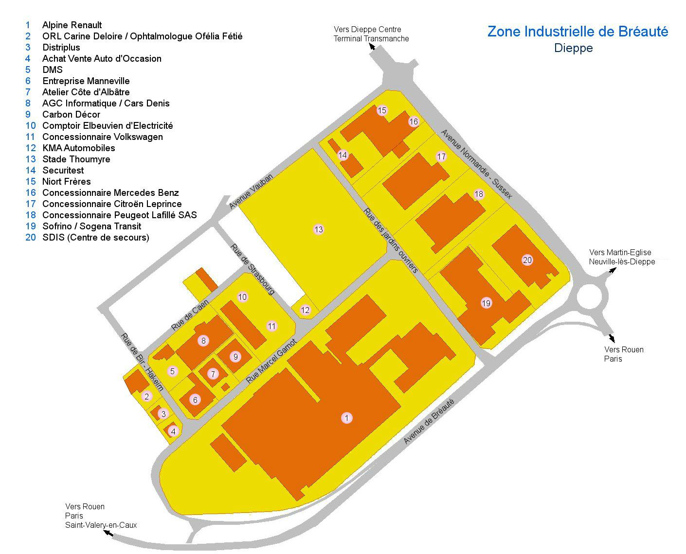 Localisation des zones d 39 activit s dieppe maritime for Garage renault saint simeon noyon